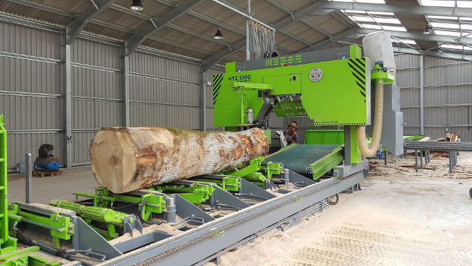 Horizontal Mebor HTZ1200 Extreme Bandsaw in use at the sawmill